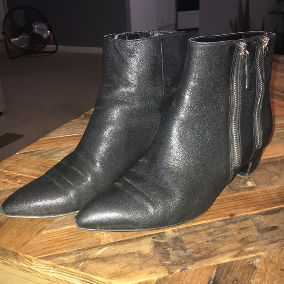 Nine West Shoes - Black Leather Nine West Pointy Toe Booties
